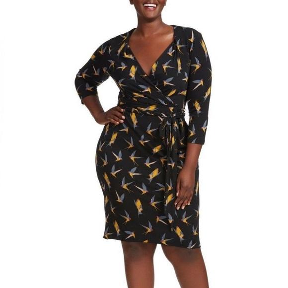 d9143d77304 Adrianna Papell Dresses   Skirts - ADRIANNA PAPELL Faux Wrap Swallow Bird Print  Dress